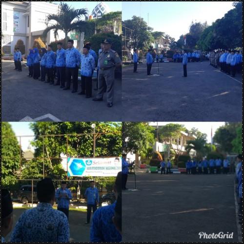 Upacara Hari Pendidikan Nasional di halaman Kantor Kecamatan Cibinong